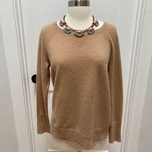HALOGEN Camel Crewneck 100% Cashmere Sweater